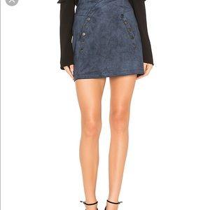 BCBG Maxazria blue suede mini skirt